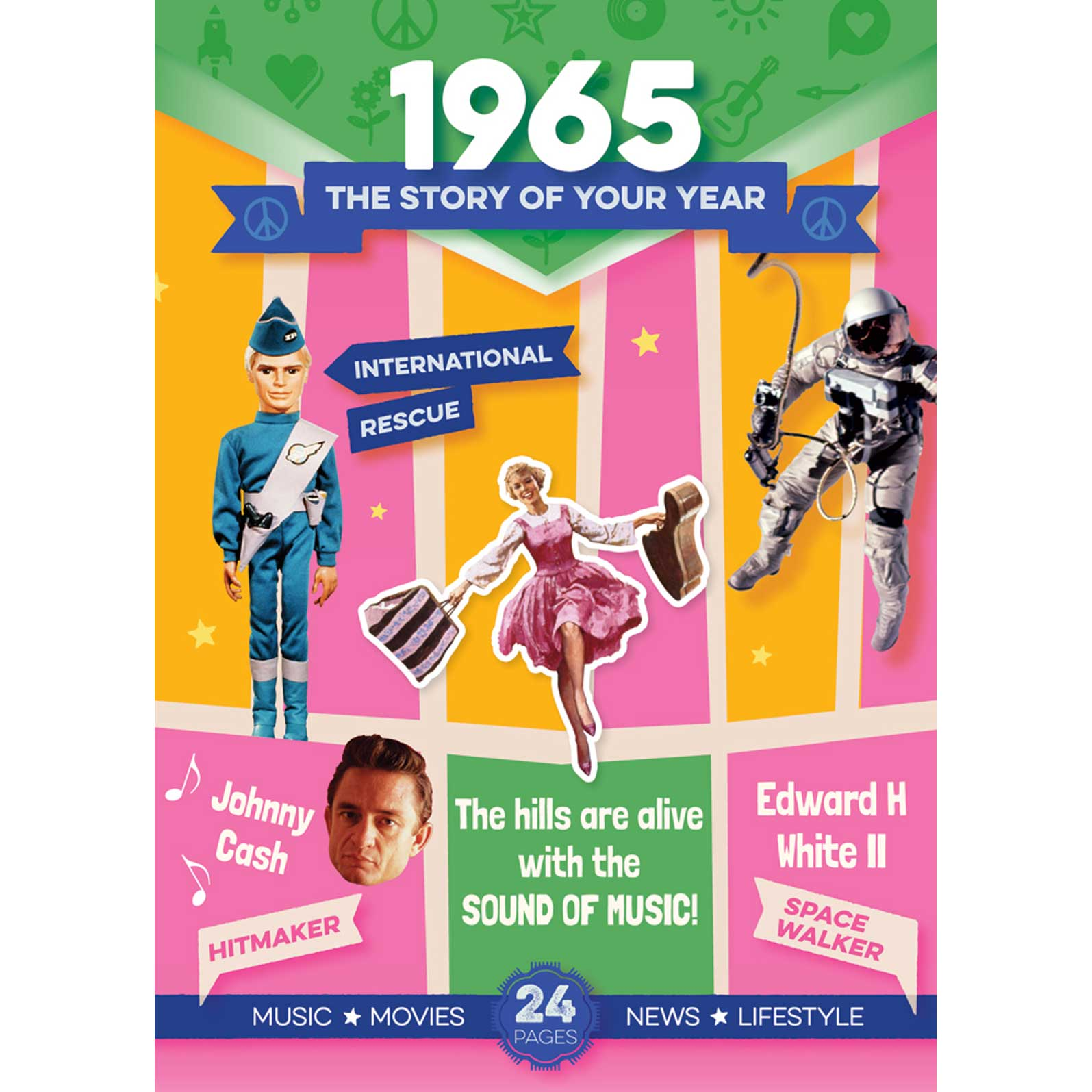 53rd Anniversary or Birthday gifts ~ Booklet , Music & Card; 1965 in one present front view
