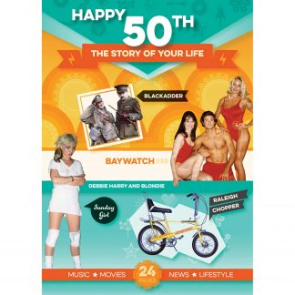 50th Anniversary or Birthday gifts ; Booklet , Music & Card in one present front view