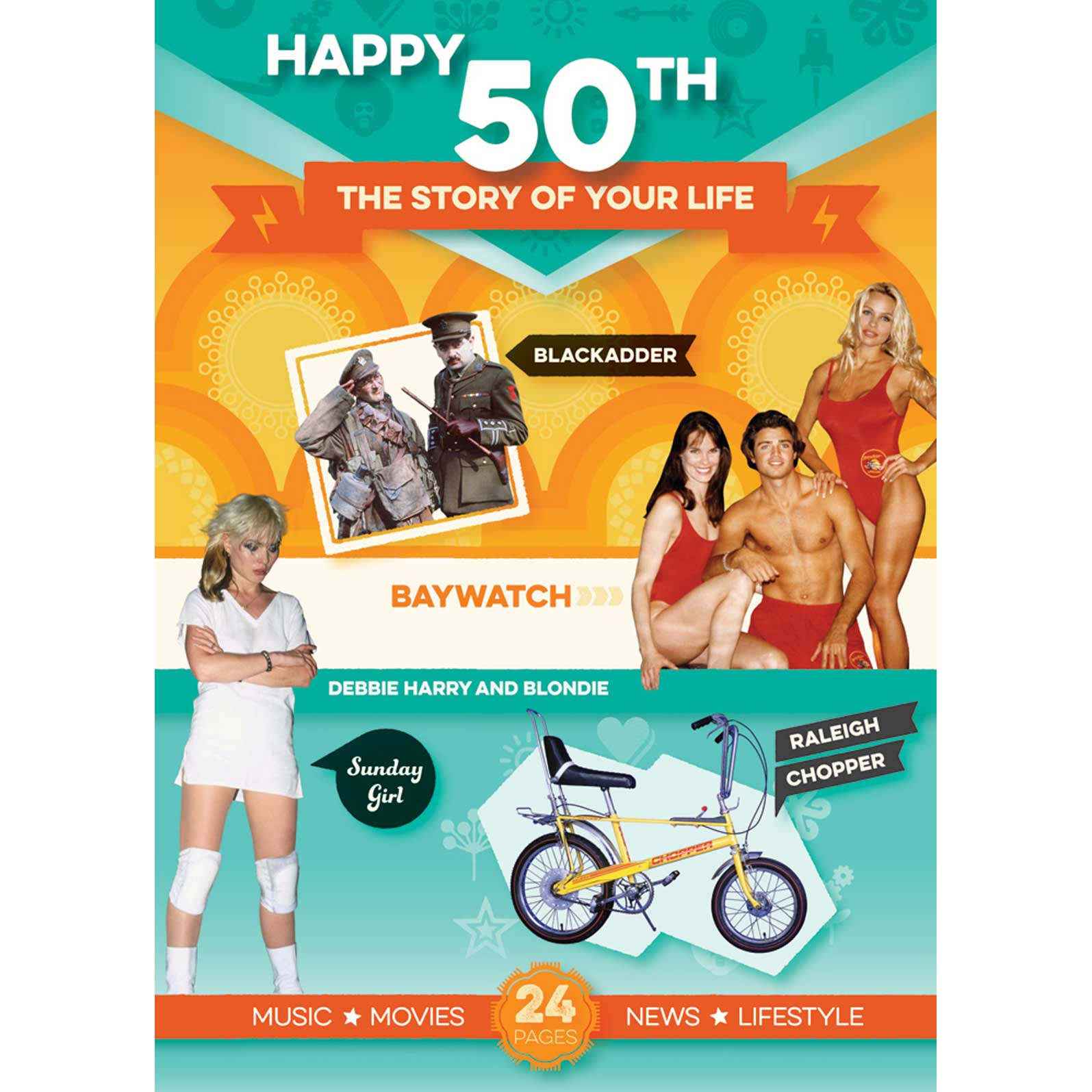 50th Birthday Box Retro Spiral Design