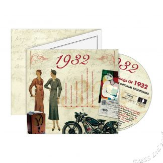 86th Anniversary or Birthday gift ~ Hit Music CD from 1932 & Greeting Card front view