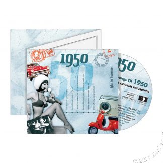 68th Anniversary or Birthday gift ~ Hit Music CD from 1950 & Greeting Card front view