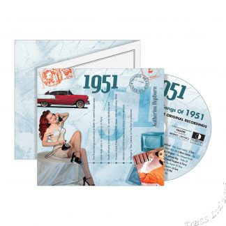 67th Anniversary or Birthday gift ~ Hit Music CD from 1951 & Greeting Card front view
