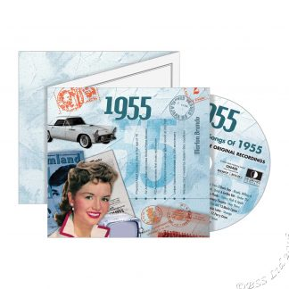 63rd Anniversary or Birthday gift ~ Hit Music CD from 1955 & Greeting Card front view