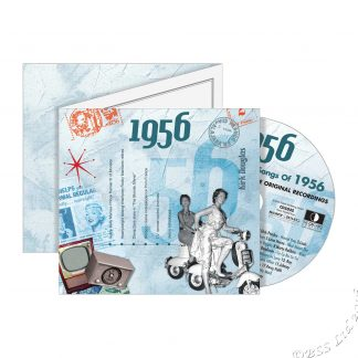 62nd Anniversary or Birthday gift ~ Hit Music CD from 1956 & Greeting Card front view