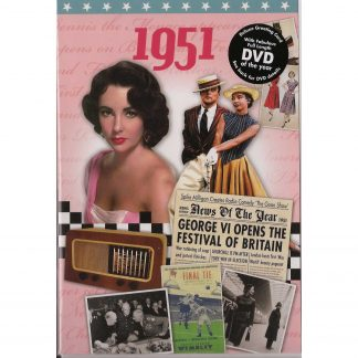 67th Anniversary gift ~ DVD with Memories from 1951 and a Greeting Card in one front view
