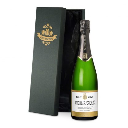 Wedding Anniversary personalised Cava gold edged classic design in a satin lined presentation box