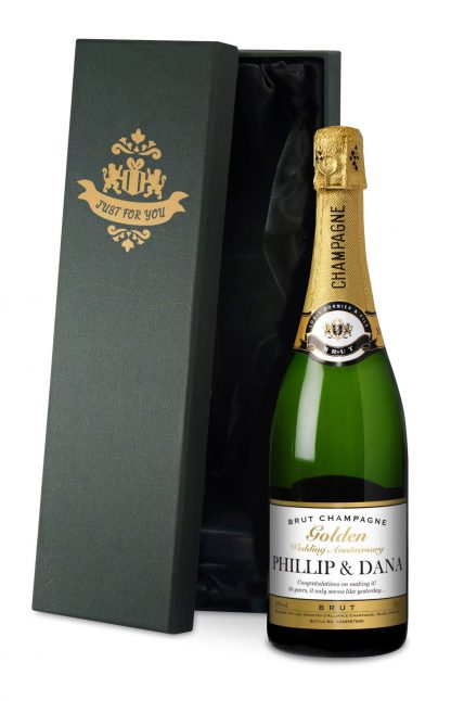 Golden Wedding 50th Anniversary Personalised Champagne