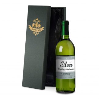 25th wedding anniversary personalised white wine coloured classic design in a satin lined presentation box