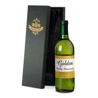 Golden Wedding 50th Anniversary Personalised White Wine