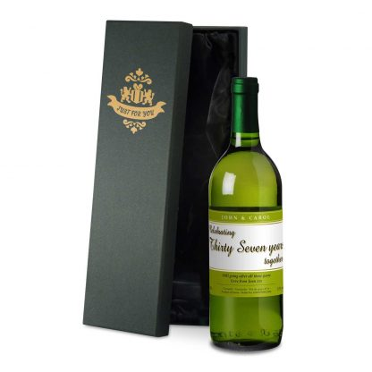 50th wedding anniversary personalised white wine celebrating the years design in a satin lined presentation box