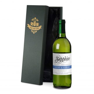 Sapphire Wedding 45th Anniversary personalised white wine anniversary strip design in a satin lined presentation box