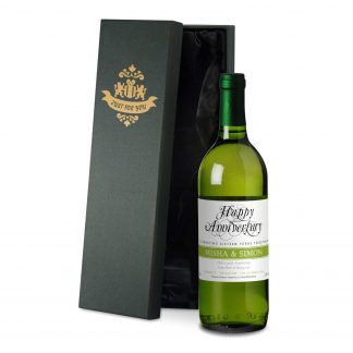 50th wedding anniversary personalised white wine happy anniversary design in a satin lined presentation box