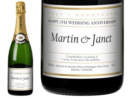 Personalised Wedding Anniversary Champagne Gold Edged Classic design