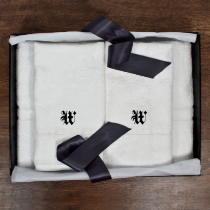 His and Hers Luxury Bath Towel Set Medieval Font