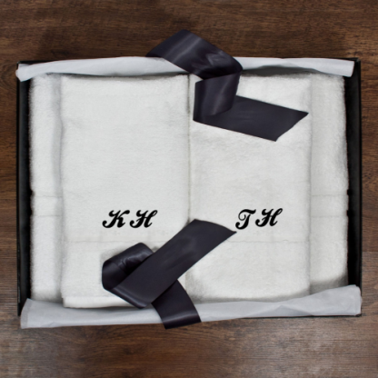 Personalised His and Hers Luxury Bath Towel Set Script Font