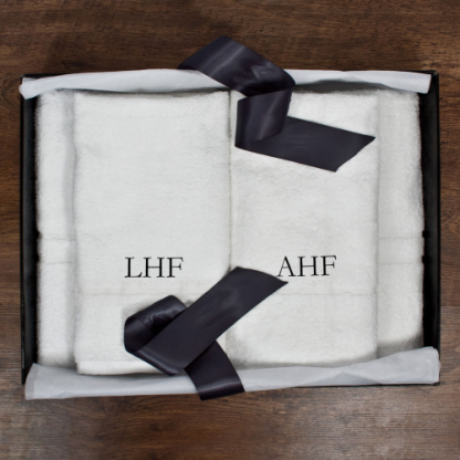 Personalised His and Hers Luxury Bath Towel Set Serif Font