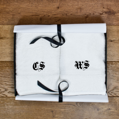 Set of Two Luxury Hand Towels Medieval Font