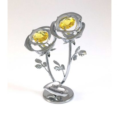 50th Anniversary Double Rose chrome Ornament made with Swarovski Elements