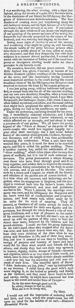 Extract from The Belfast Newsletters 27th October 1852; Issue No.11797 detailing a golden wedding celebration