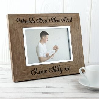 worlds best new dad wooden picture frame