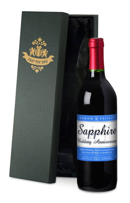 Personalised Sapphire Wedding 45th Anniversary Red Wine