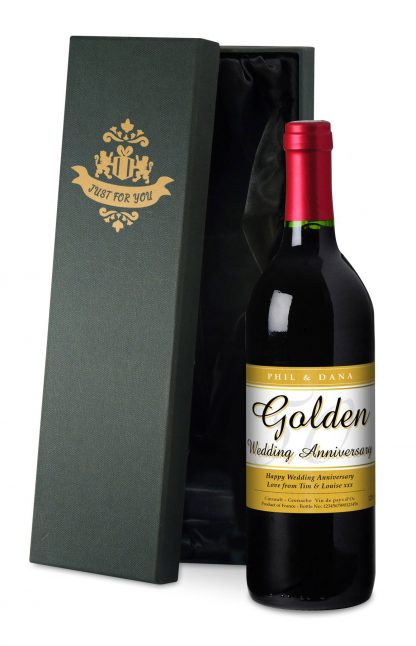 Personalised Golden Wedding 50th Anniversary Red Wine