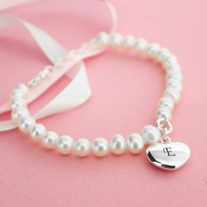 Personalised White Pearl Bracelet With Heart Charm