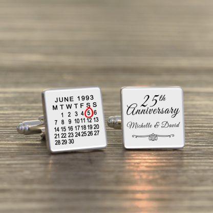 Wedding Anniversary Cuff-links White