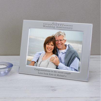 Silver Wedding Anniversary Photo Frame 5 x 7 Landscape