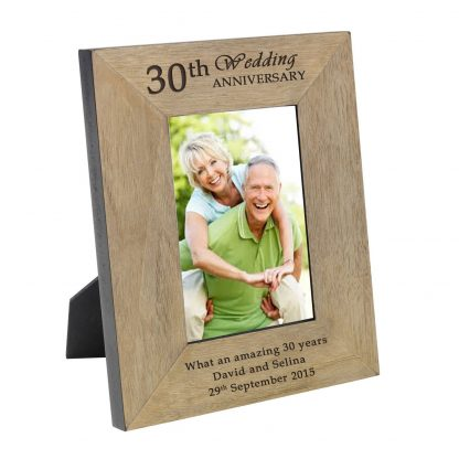30th wedding anniversary wooden photo frame