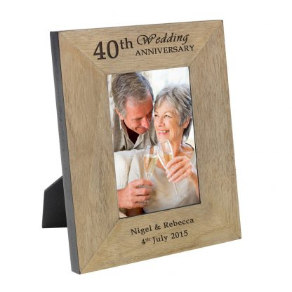 40th wedding anniversary wooden photo frame