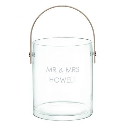LSA Personalised Ash Handle Ice Bucket with San Serif Font
