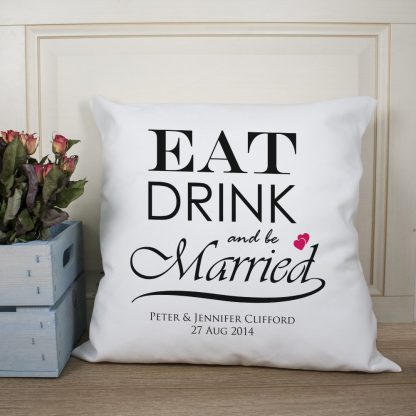 Eat Drink and be Married Couple Cushion Cover