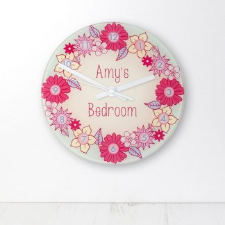 Flower Garland Personalised Little Girl's Wall Clock