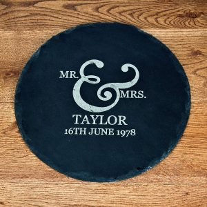 Mr and Mrs Romantic Ampersand Round Slate Cheese Board