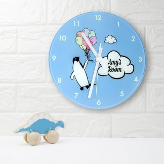 Percy Penguin Personalised Wall Clock