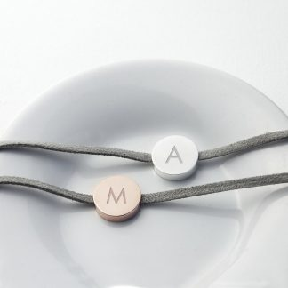 Personalised Always With You Bracelet Grey Rose Gold Tag