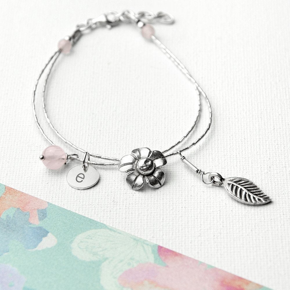 Personalised Forget Me Not Friendship Bracelet With Rose Quartz Stones