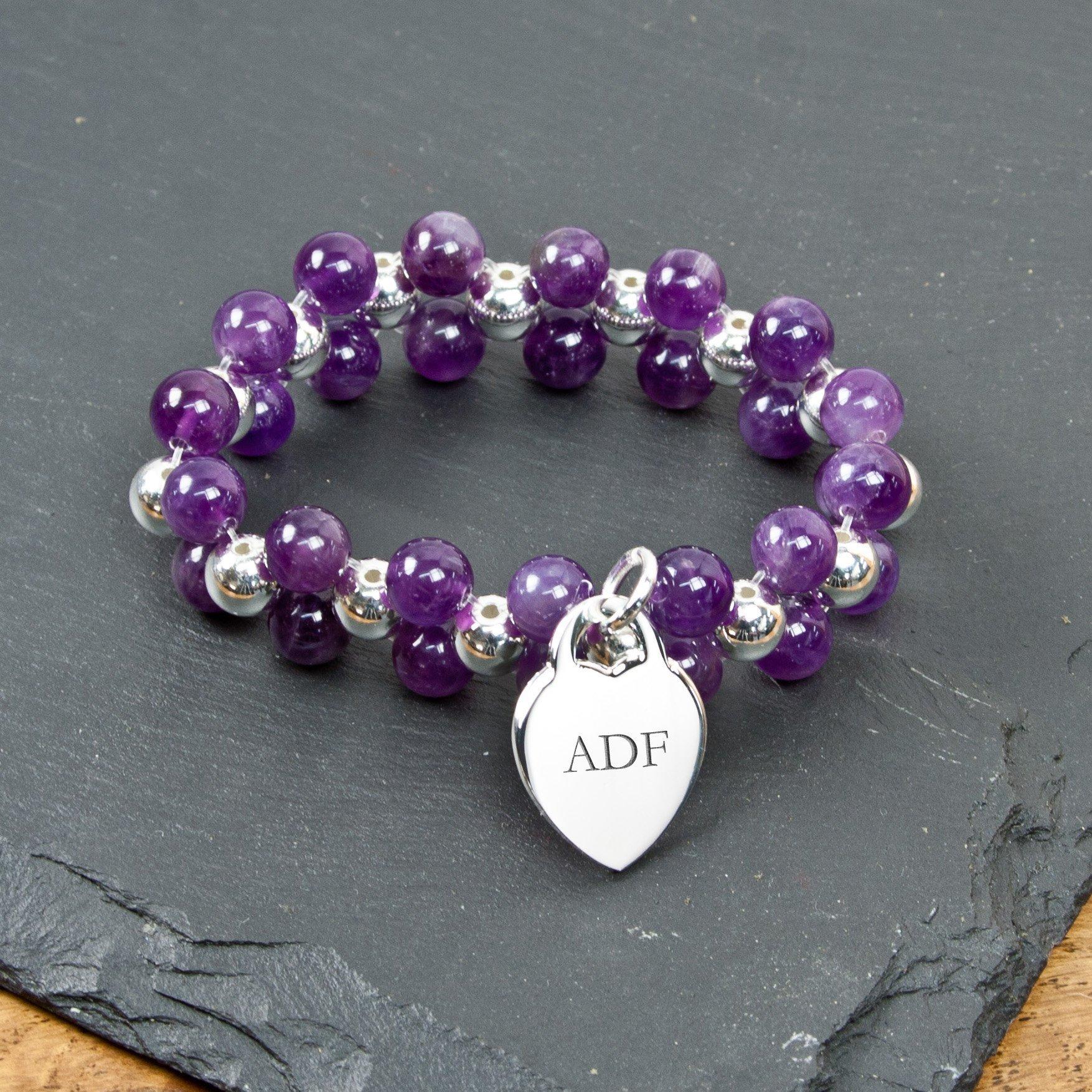 Personalised Amethyst Harmony Bracelet