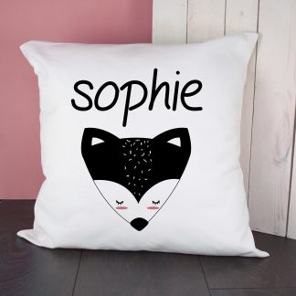 Personalised Little Fox Face Cushion Cover