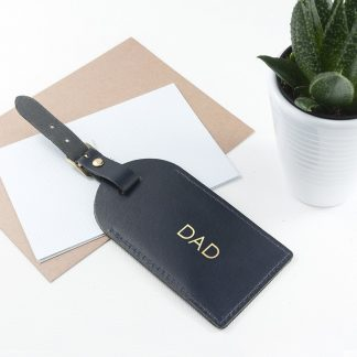 Personalised Navy Foiled Leather Luggage Tag