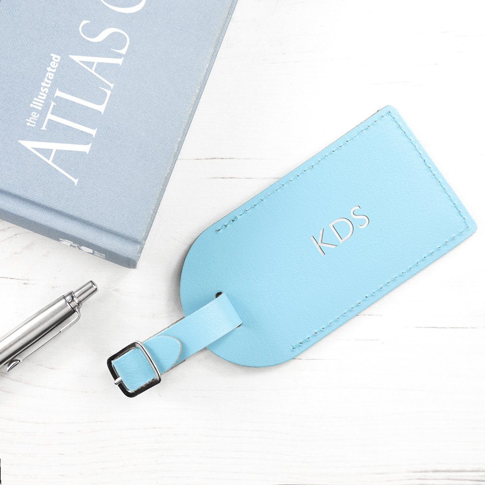 Personalised Pastel Blue Foiled Leather Luggage Tag