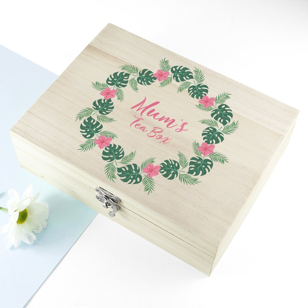 Personalised Rainforest Wreath Mother's Day Tea Box