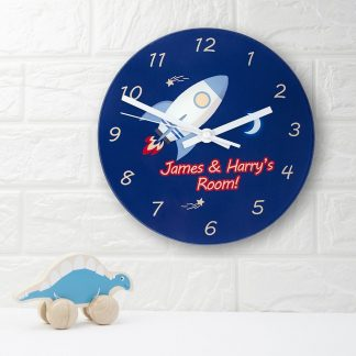 Rocket To The Moon Personalised Wall Clock