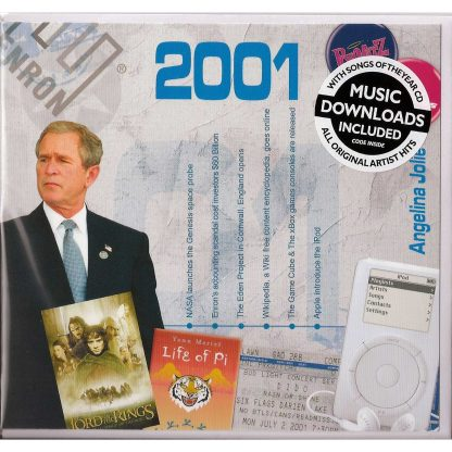 19th Anniversary or Birthday gift ~ Hit Music CD from 2001 & Greeting Card
