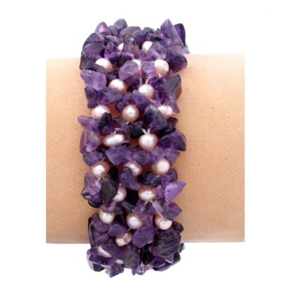 Pearl and Amethyst Knitted Bracelet ce31179