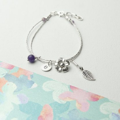Personalised Forget Me Not Friendship Bracelet With Amethyst Stones typewriter font