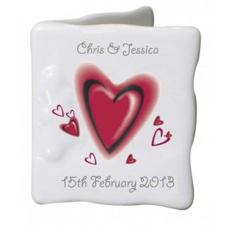 Personalised Red Hearts Bone China Message Card