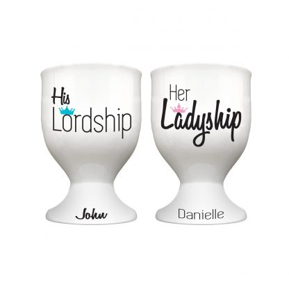 His and Hers Egg Cups lordship and ladyship