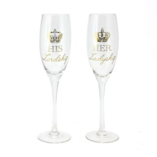 His Lordship & Her Ladyship Pair of Champagne Flutes Boxed